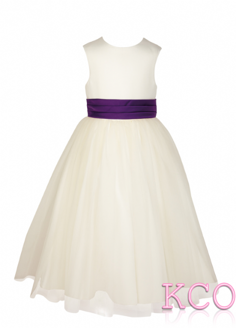 Style FJD922~ Pleat Sash Dress Ivory/Purple
